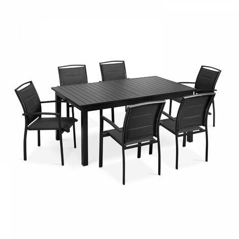 Table de jardin extensible et 8 fauteuils - Noir - 103645