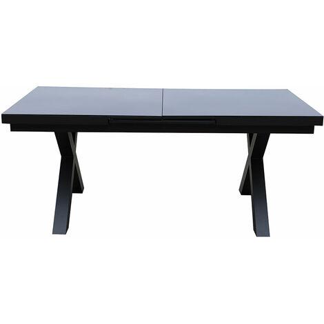 Table de jardin extensible XERES gris aluminium et verre 10 personnes