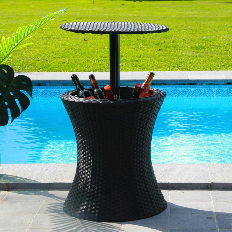 Skylantern - Table de Jardin Extérieur avec Bassine à Glaçon pour Boissons Fraiches - Table d'Appoint Hauteur Réglable Effet Rotin - Table Glacière