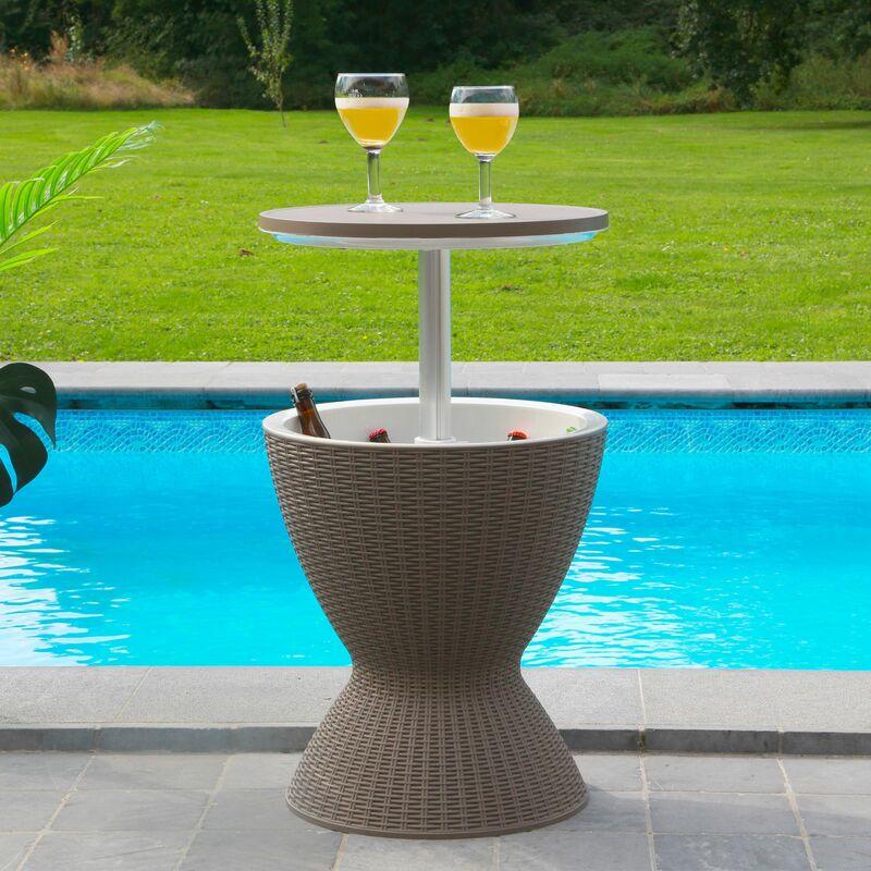 Skylantern - Table de Jardin Extérieur avec Bassine à Glaçon pour Boissons Fraîches - Table d'Appoint Hauteur Réglable Effet Rotin - Table Bar
