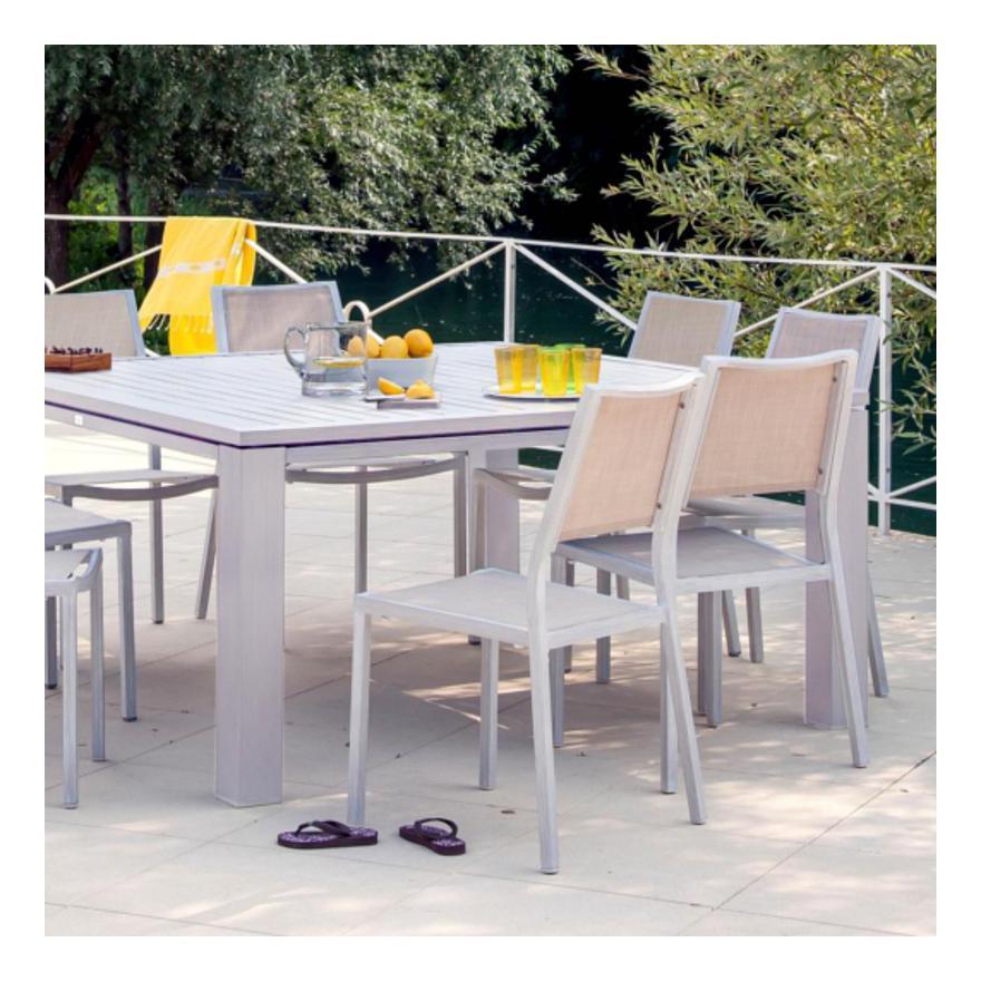 Table de jardin FIERO en aluminium look bois, 180x103x73cm couleur grège -  Proloisirs