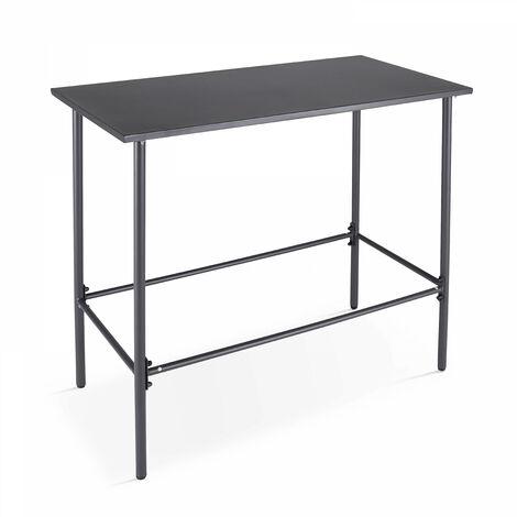 Table de jardin haute en acier thermolaqué gris Palavas - Gris - Gris