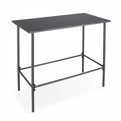Table de jardin haute en acier thermolaqué gris Palavas - Gris