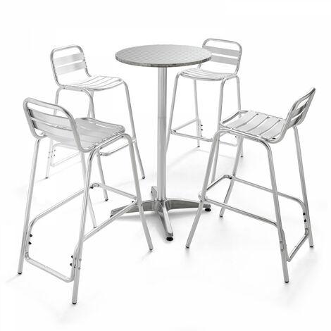 Table de jardin haute en aluminium et 4 tabourets Soho - Gris