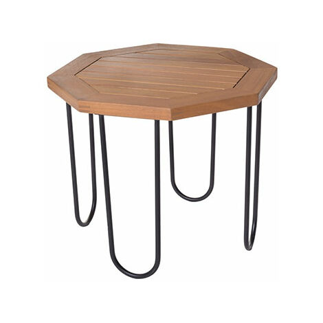 Table de jardin hexagonal 45x45x36 cm en bois et fer