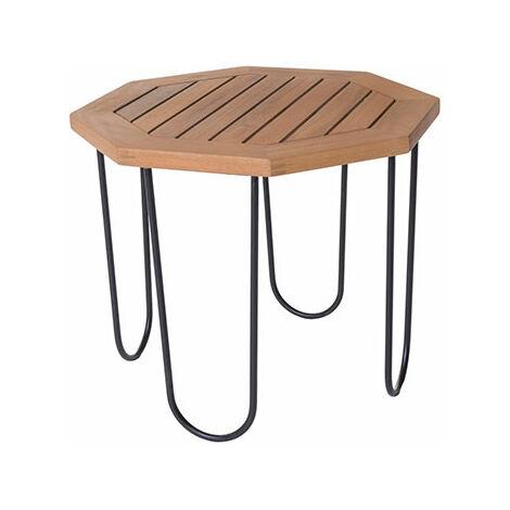 Table de jardin hexagonal 50x50x40 cm en bois et fer