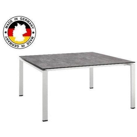Table de jardin HPL béton brossé - Couleur: Argent/Gris - Dimensions ...
