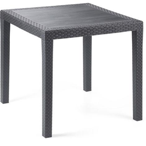 Table de jardin King carré 79 cm. en résine tressée coloris anthracite