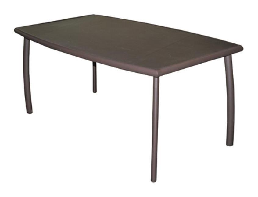Table de jardin LINEA 160 en aluminium et plateau en verre couleur rouille  - Proloisirs