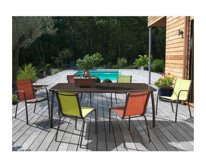 Table de jardin LINEA 160 en aluminium et plateau en verre couleur ...