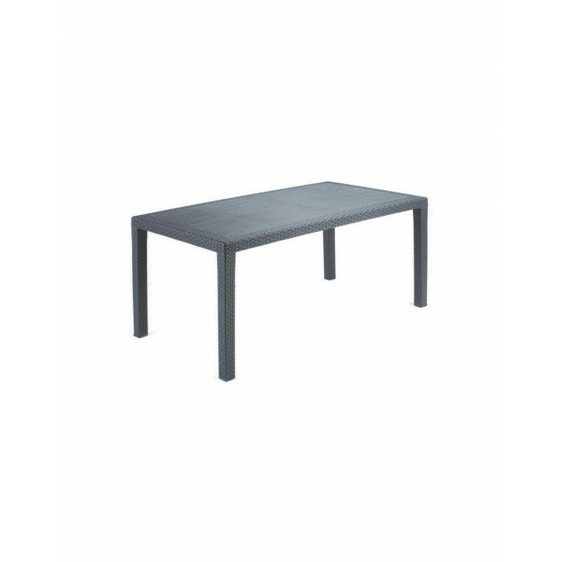 Tresice France - Table de jardin LISIO anthracite effet rotin 140X78XH72CM