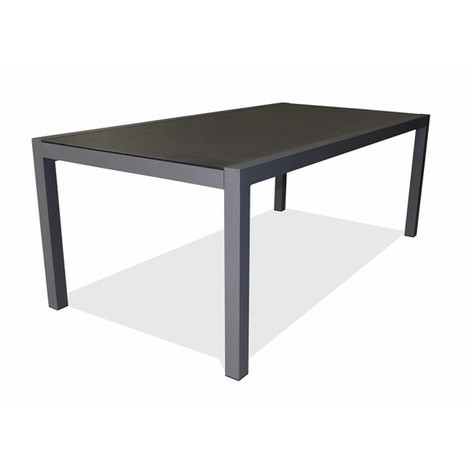Table de jardin London en aluminium plateau duranite 200 x 100 x 73 cm brun