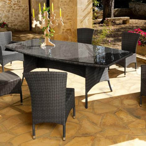Table de jardin LOTUS en aluminium et résine tressée coloris ice -  Proloisirs