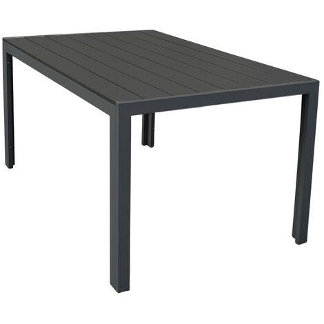 Table de Jardin Malmö en Polywood Meuble dExtérieur avec Cadre Aluminium Graphite - Grey