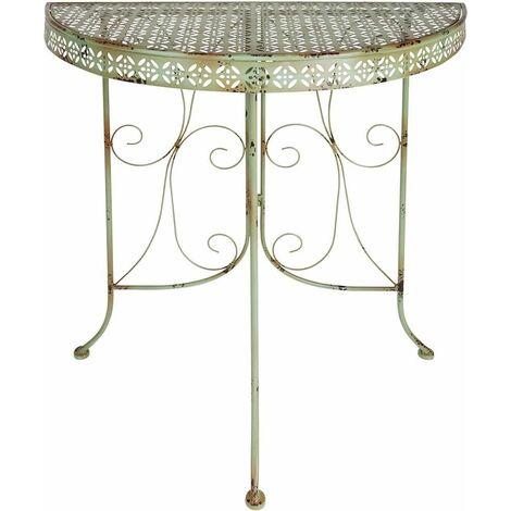 Table de jardin mi-ronde en métal