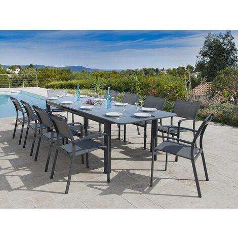 Table de jardin Milos extensible en aluminium pour 10/12 personnes