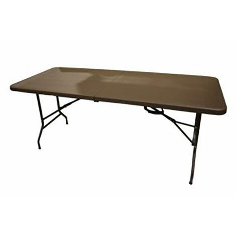 "main image of ""Table de jardin Natuur Pleg Wood Resin-Steel Brown 180X76X74Cm Nt123699"""