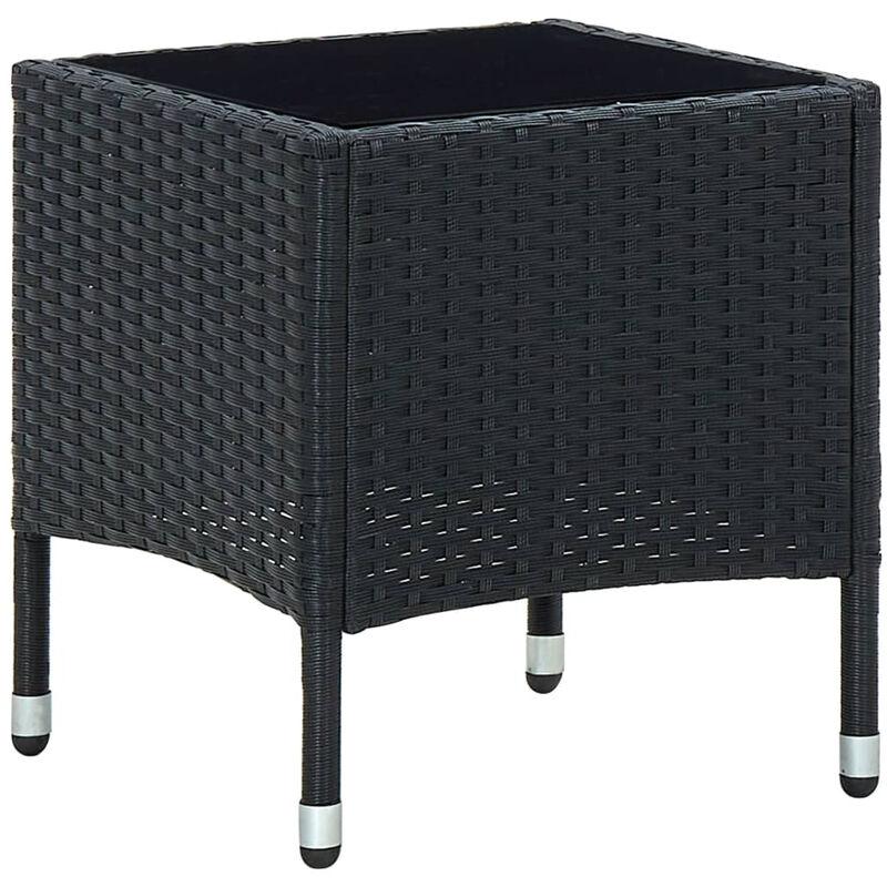 Table de jardin Noir 40x40x45 cm Resine tressee