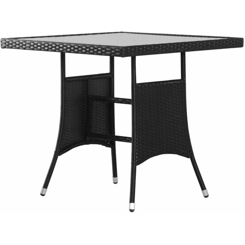 Table de jardin Noir 80x80x74 cm Resine tressee