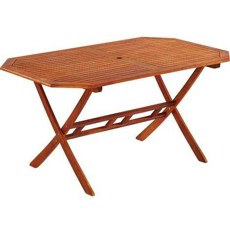 Table de jardin octogonale en bois 150 x 85 cm