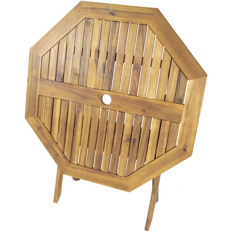 Table de jardin octogonale pliable - bois dur certifié FSC