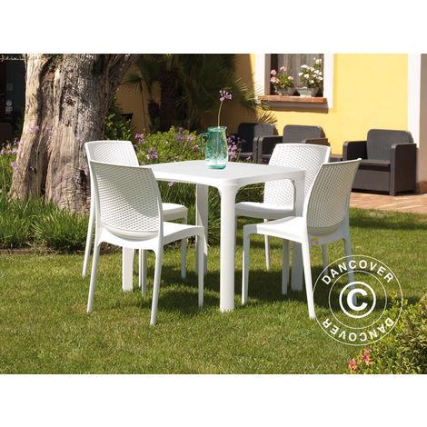 Table de jardin Olè 80x80x72cm, imitation rotin, Blanc -
