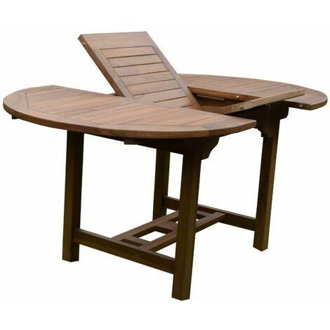 Table de jardin ovale et extensible en teck 6 personnes