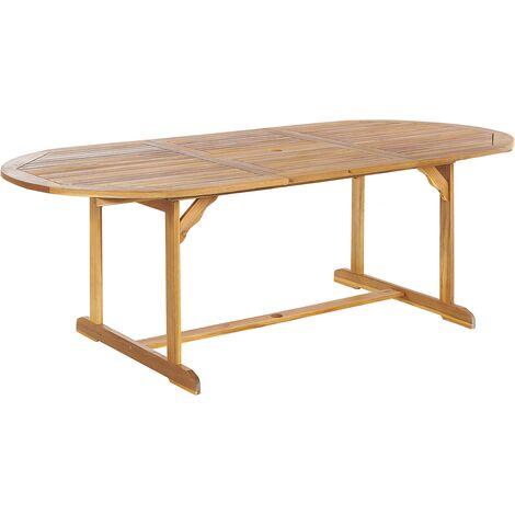 Table de jardin ovale extensible 160/220 x 100 cm en bois d\'acacia ...