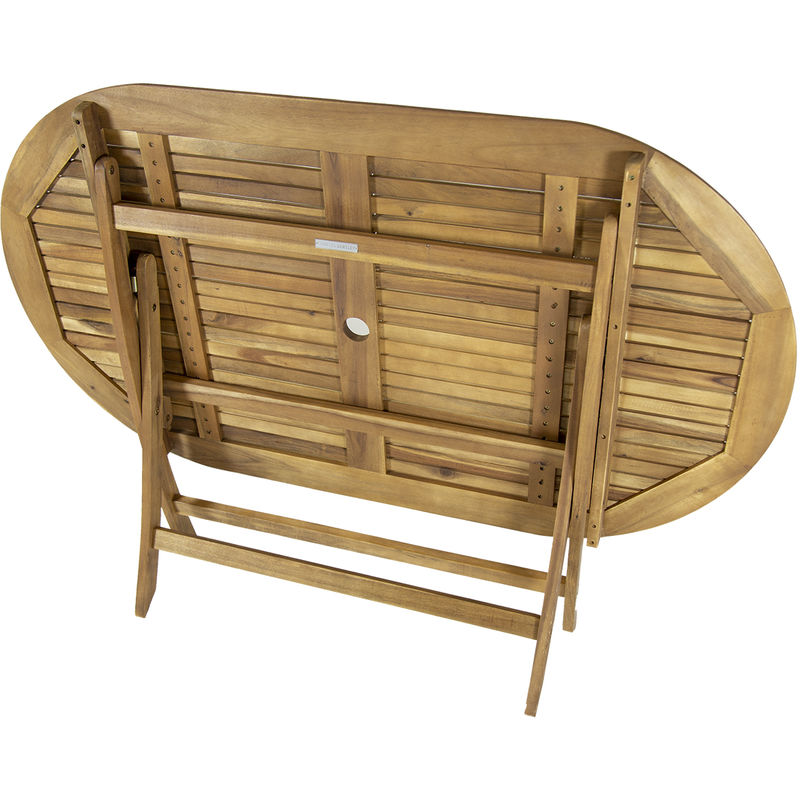 Table de jardin ovale pliable - bois