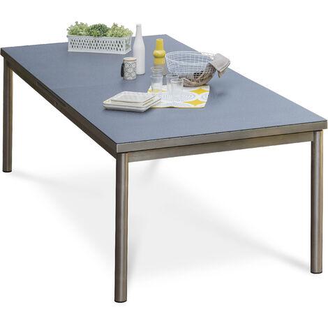 Table de jardin PALERMO 180/240x110cm plateau SPRAYSTONE et structure inox - GRIS