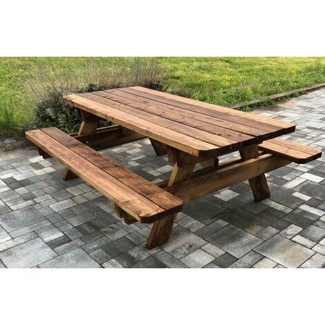 Table de jardin & pique-nique - 2.5m - 6-8 personnes - Section Renforcée - idéal pour dejeuner en exterieur