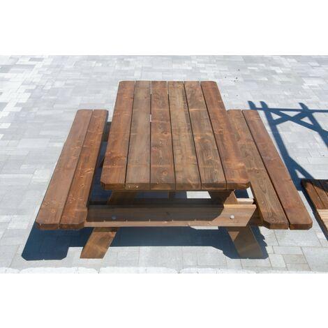 Table de jardin & pique-nique - 2m - 4/6 personnes - Section Renforcée - idéal pour dejeuner en exterieur