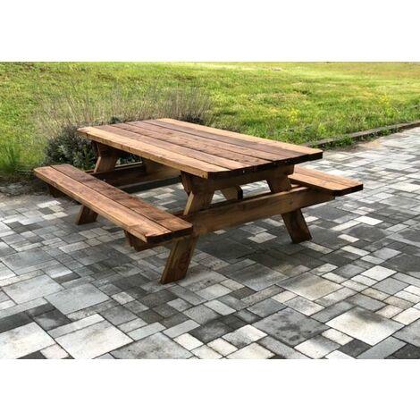 Table de jardin & pique-nique - 3m - 8-10 personnes - Section Renforcée - idéal pour dejeuner en exterieur