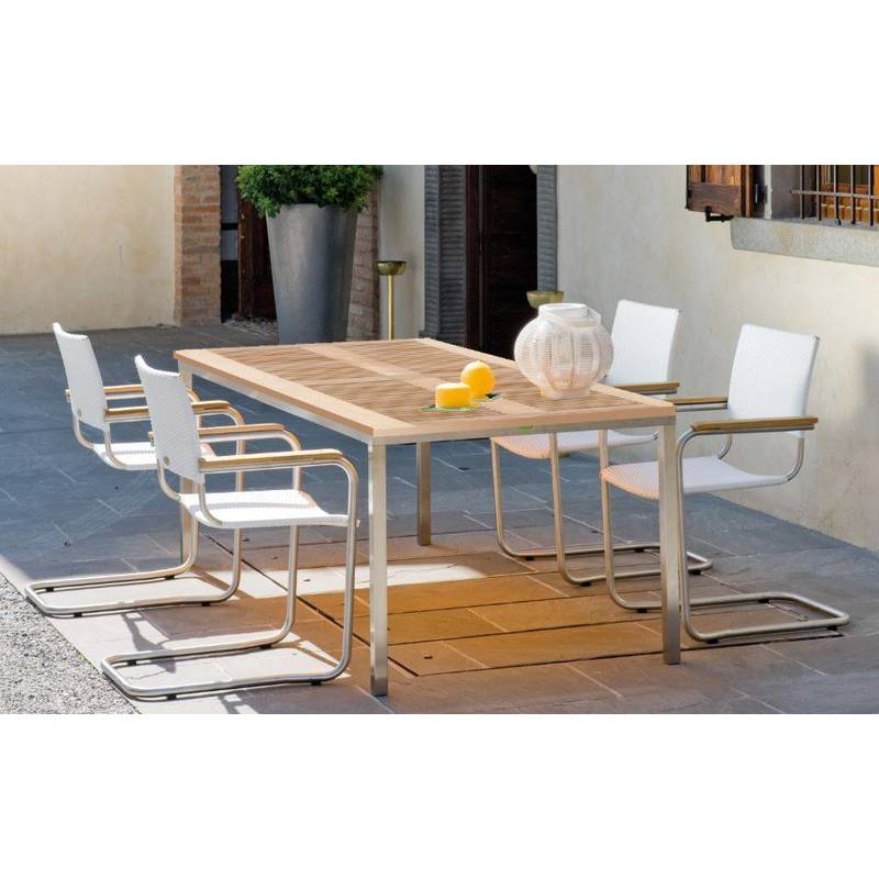 Table de jardin Pircher Urban 160x90 cm en acier et bois de teck   Legno