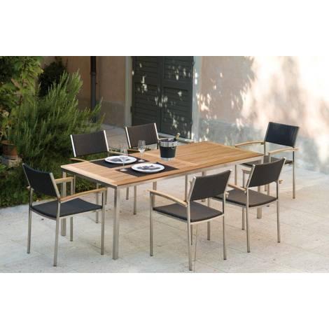 Table de jardin Pircher Urban 200x90 cm en acier et bois de teck | Legno