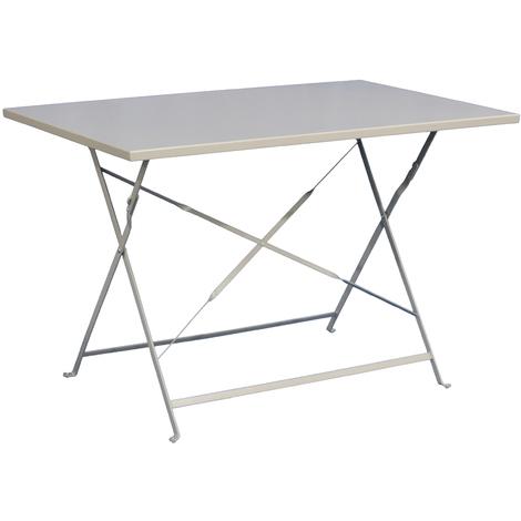 Table de jardin plainte coloris taupe - Dim : 110 x 70 x 71 cm -PEGANE-