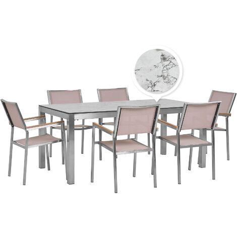 Table de jardin plateau blanc effet marbre 180 cm et 6 chaises beiges GROSSETO
