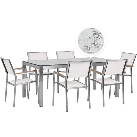 Table de jardin plateau blanc effet marbre 180 cm et 6 chaises blanches GROSSETO