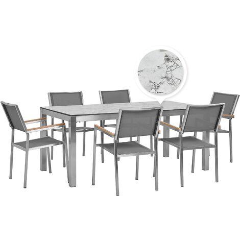 Table de jardin plateau blanc effet marbre 180 cm et 6 chaises grises GROSSETO