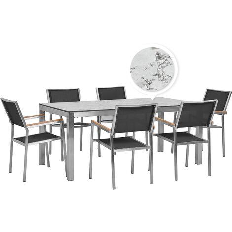 Table de jardin plateau blanc effet marbre 180 cm et 6 chaises noires GROSSETO