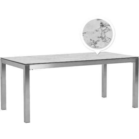 Table de jardin plateau blanc et gris effet marbre 180 x 90 cm GROSSETO