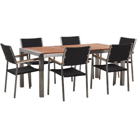 Table de jardin plateau bois eucalyptus 180 cm et 6 chaises rotin noires GROSSETO