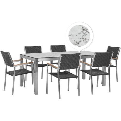 Table de jardin plateau effet marbre 180 cm et 6 chaises en rotin noir GROSSETO