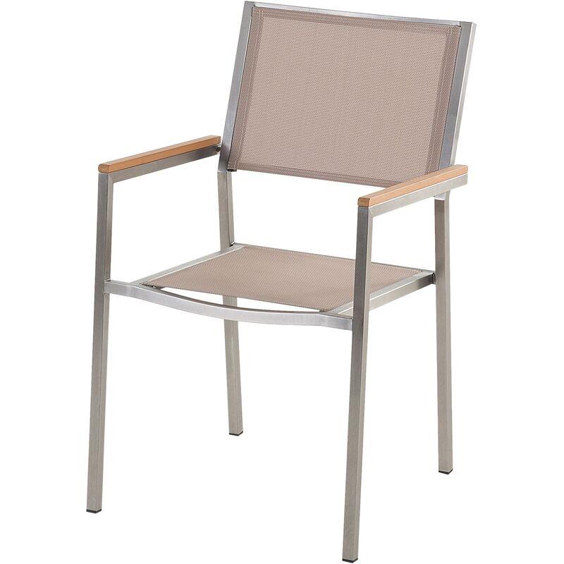 Table de jardin plateau granit noir poli 180 cm 6 chaises textile beige  GROSSETO