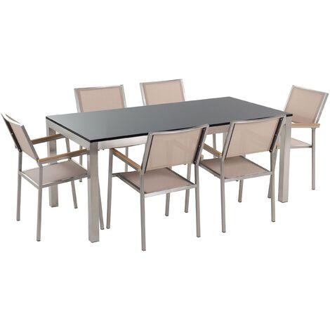 Table de jardin plateau granit noir poli 180 cm 6 chaises ...