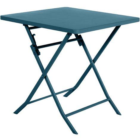Table de jardin pliable carrée Greensboro - 2 Places - Bleu canard - Bleu foncé