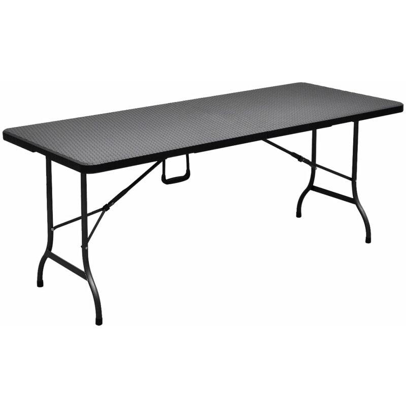 Table de jardin pliable noire 180 cm imitation rotin