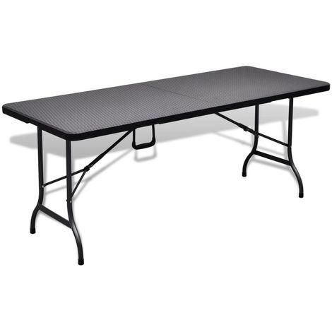 Table de jardin pliable noire 180 cm imitation rotin | Noir ...