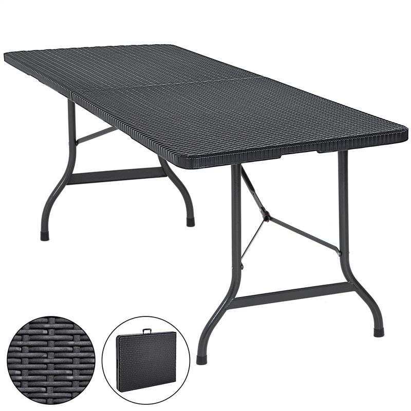 Table de jardin pliable plastique polyrotin noir 180cm fête buffet jardin  party