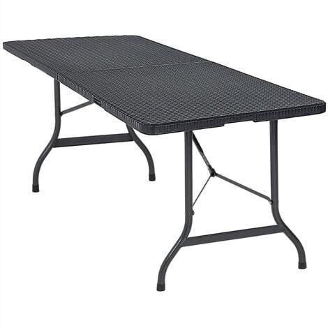 Table de jardin pliable pliante plastique polyrotin noire 180cm Poignée de transport Facile à nettoyer Compacte Buffet jardin camping fête de jardin